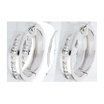 Orecchini a cerchio - Oro bianco - 18 carati - 22 Diamanti - incastonatura a binario - 0.24 carati