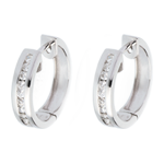 Orecchini a cerchio - Oro bianco - 9 carati - 22 Diamanti - incastonatura a binario - 0.24 carati