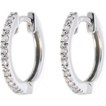 vendita on-line Orecchini a cerchio semi pavé oro bianco - 16 diamanti