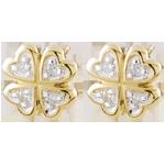 Orecchini Chance - Oro bianco e Oro giallo - 9 carati -8 Diamanti