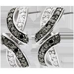 Orecchini Chiaroscuro - Incontro - Oro bianco - 9 carati - Diamanti bianchi e diamanti neri