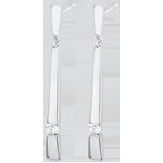 Orecchini Cleopatra - Oro bianco - 18 carati - Diamanti - 0.10 carati