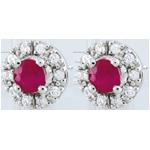 Orecchini Clévia - Oro Bianco - 18 carati - 20 Diamanti- 2 Rubini