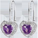 Orecchini Cuore Incantato - Oro bianco - 18 carati - 20 Diamanti - Ametista - 0.83 carati