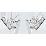Orecchini Diamanti glaciali - Oro bianco - 18 carati - 10 Diamanti - 0.11 carati