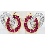 Orecchini Duorama - Oro bianco e Oro giallo - 9 carati - 22 Rubini - 20 Diamanti