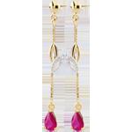Orecchini Evina - Oro giallo e Oro bianco - 9 carati -2 Rubini - 0.53 carati