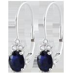 compra on-line Orecchini Exquises - Oro bianco - 9 carati - 6 Diamanti - 2 Zaffiri