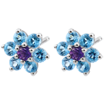 Orecchini - Fiocchi di neve - Oro bianco - 9 carati - 2 Ametiste - 12 Topazi - 0.61 carati