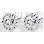 Orecchini Fior di Sale - Cerchio - Oro bianco - 9 carati - Diamanti