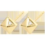 Orecchini Genesi - Diamanti grezzi - Oro giallo - 18 carati - Diamanti