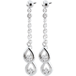 Orecchini Gocce Odalia - Oro bianco - 9 carati - 4 Diamanti
