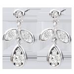 Orecchini Hesmé - Oro bianco - 9 carati - 10 Diamanti - 0.12 carati