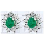 Orecchini Illusione Floreale - Oro bianco - 18 carati - 18 Diamanti - 0.108 carati - 2 Smeraldi