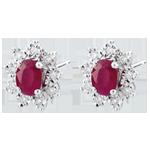 Orecchini Illusione Floreale - Oro bianco - 9 carati - 18 Diamanti - 0.108 carati - 2 Rubini