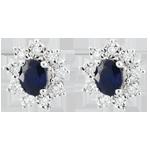 Orecchini Illusione Floreale - Oro bianco - 9 carati - 18 Diamanti - 0.108 carati - 2 Zaffiri