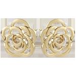 Orecchini a lobo - Fiore ricamato - Oro giallo - 9 carati