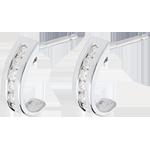 Orecchini Mezza Luna - Oro bianco pavé - 18 carati - 12 Diamanti - 0.22 carati