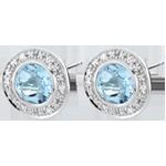 Orecchini - Odina - Oro bianco - 9 carati - 12 Diamanti - 2 Topazi - 1.54 carati