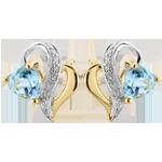 Orecchini Ouaki - Oro bianco e Oro giallo - 9 carati -Topazio blu - 0.66 carati