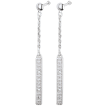 Orecchini Parigini - Oro bianco - 18 carati - 4 Diamanti