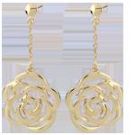 Orecchini pendenti - Fiore ricamato - Oro giallo - 9 carati