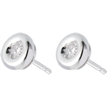 comprare on-line Orecchini Punto luce diamante - Calice - Oro bianco - 18 carati - Diamanti - 0.12 carati