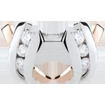 Orecchini Trilogia Nido Prezioso - Modi- Oro rosa e Oro bianco - 9 carati - 6 Diamanti -0.22 carati