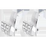 Orecchini Tropico - Oro bianco pavé - 18 carati - 24 Diamanti - 0.17 carati