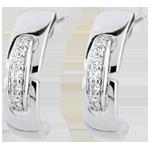 Orecchini Unione senza tempo - Oro bianco - 9 carati - 10 Diamanti