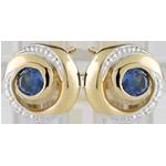 Orecchini Vortice infinito - Oro bianco e Oro giallo - 9 carati - 2 Zaffiri - 0.19 carati