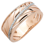 Palm-inspired Ring - 18 carat pink gold and diamonds
