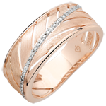 Palm-inspired Ring - 9 carat pink polished gold and diamonds