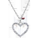 Pandantiv Abundenţă - Inimă Fermecată - aur alb 9K şi diamante