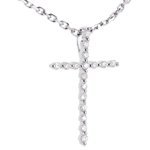 Paved cross pendant white gold - 17 diamonds