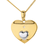 gifts women Pendant Hearts Together - Yellow gold