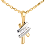 gold jewelry Pendant Precious Nest - Sinogram trilogy - white and yellow gold - 18 carats
