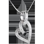 Pendentif Coeur Chaviré - 0.31 carats - 52 diamants - or blanc 18 carats