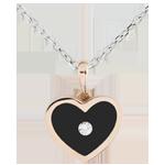 Pendentif Coeur Magique - or blanc et or rose 18 carats