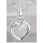 ventes en ligne Pendentif coeur pavé or blanc - 0.41 carat - 18 diamants