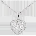 ventes en ligne Pendentif coeur pavé or blanc et belière - 0.67 carat - 50 diamants