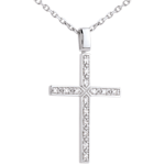 Pendentif croix or blanc 18 carats diamant pavée - 0.15 carat