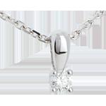 Pendentif diamant belière or blanc 18 carats - 0.11 carat