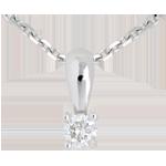 Pendentif diamant belière or blanc 18 carats - 0.16 carat