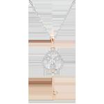 Pendentif diamants - Clé d'éternité - or blanc et or rose 9 carats - avec chaîne or blanc