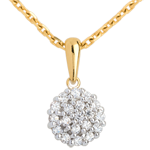 Pendentif kaléidoscope pavé diamants - 19 diamants - 0.19 carat - or jaune 9 carats