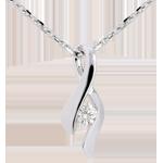 bijou or Pendentif Nid Précieux - Infini - or blanc - diamant 0.125 carat - 18 carats
