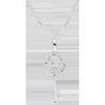 Pendentif or blanc 9 carats et diamants - Clé d'éternité - avec chaîne or blanc 9 carats