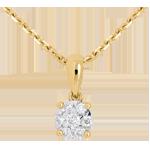 mariage Pendentif pavage et belière or jaune - 0.14 carat - 7 diamants