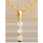Pendentif totem trilogie - or jaune 18 carats - 0.24 carat - 3 diamants